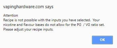 E-liquid calculator error message