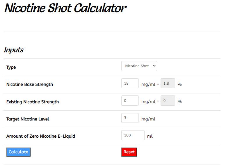 Nicotine Shot Calculator